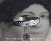 SAUDADE Portugal Blue Antique Azulejo Tile Replica Bangle Bracelet - Individually Placed Tiles Colorful! OOAK