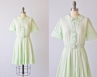 Vintage 1950s Dress / 50s Dress / Shirtwaist Dress / Cotton Dress / Mint Green  / Sea Foam