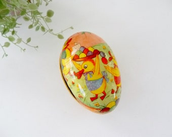 "Vintage Paper Mache Easter Egg Box, East Germany GDR, Small Size 3 1/2"" - AS IS"