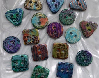 18 unusual funky handmade buttons (set18_12)