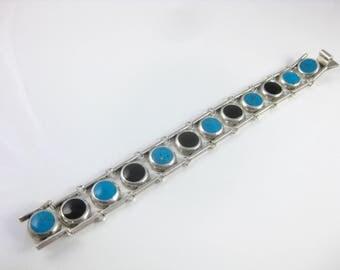 Vintage 950 Silver Blue Turquoise BlackOnyx Mexico TM-181