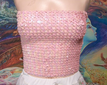 Tube Top, Pink Sequin top, 80s Strapless top, Pink tube top, Disco club top, size M