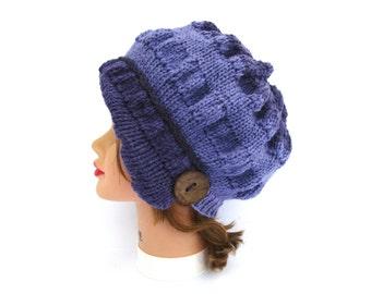 Purple Cloche - Knit Hat With Button - Women's Cloche - Flapper Hat - Asymmetrical Cloche - 1920s Cloche Hat - Ruched Hat - Knit Accessories