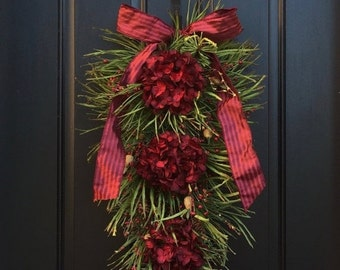 Christmas Swag Wreath, Swag Wreath, Wreath Christmas Swag, Swag Wreath Christmas, Christmas Wreath Swags, Front Door C
