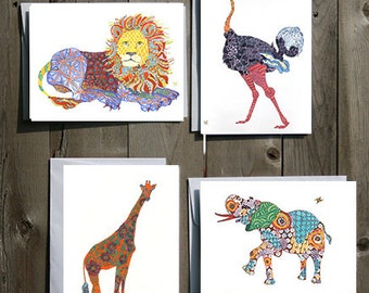 Safari or Zoo themed Note Card Set of 4, 8 or 12