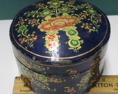 Laquered Box Kashmir Paper Mache Lacquer Vintage Japanned or Lacquerware Trinket Box Blue Gold Gilt Florence Firenza Large Imari BOHO