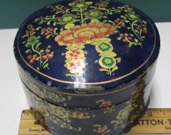 Laquered Box Kashmir Paper Mache Lacquer Vintage Japanned or Lacquerware Trinket Box Blue Gold Gilt Florence Firenza Large Imari BOHO