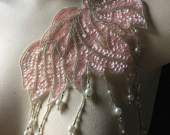 Pink Blush Beaded Applique with Fringe for Lyrical Dance, Ballet, Costumes  CA 601