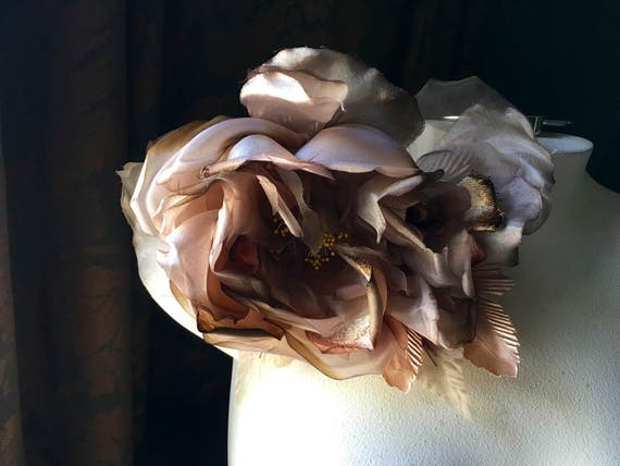Brown Silk Rose Amp Bud Flower For Derby Bridal Hats