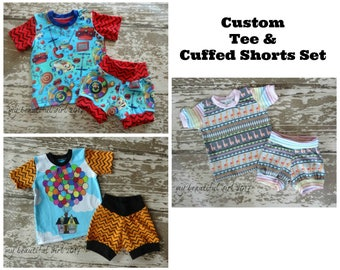 Tee & Cuffed Shorts Set - You Choose the size and fabric, summer outfit, boy or girl, boutique, handmade, ooak