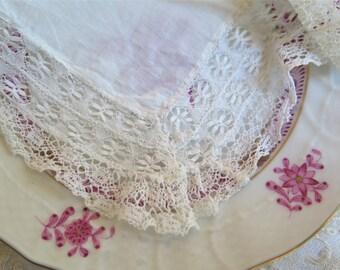 Antique Cluny Lace Handkerchief in White Fine Bobbin Lace Wedding Hanky