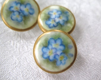 Antique Porcelain Button /Studs Hand Painted Forget Me Knots Set of Three 22 mm