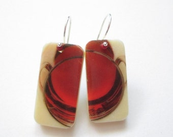 Red Wine Earrings, cabernet, pinot noir, merlot, burgundy, domino earrings, acrylic image transfer