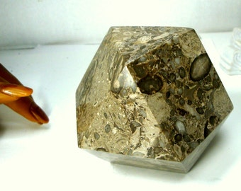 Geometric Stone Paperweight, 1990s Desk Item, 14 Sided HEAVY Office Valentine Fathers Day Gift, Solid Polished Fossil Jasper Maybe