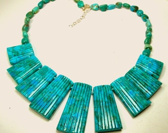 EGYPTIAN Aqua Turquoise Sea Sediment Jasper BIB w Turquoise Color Stone Knotted Beads Necklace, OOAK by Rachelle Starr, Extender Chain