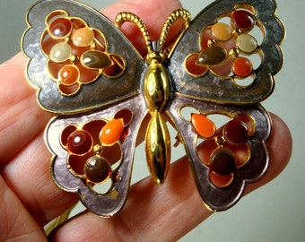 Enamel Butterfly Pin or Pendant w Gold Slithery Snake Chain, Gold Metal Brooch or Amulet, Lavender Gray Rust Maroon
