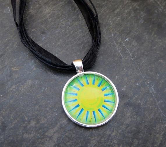 Sun Pendant  Boho Necklace  Photo Necklace Beach Jewelry  Sun Necklace Yellow Necklace Hippie Pendant