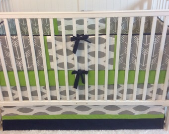 Baby Boy Crib Bedding Set Navy Green and Gray Arrows READY TO SHIP