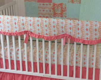 Baby Girl Crib Bedding Set in Coral Mint and Gold Ready to Ship