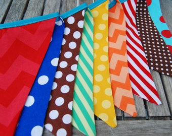 Boy's Birthday Bunting -- Red, Blue, Brown, Green, Yellow, Orange Fabric - Party Decoration - Fabric Flags, Boy or Girl - Ready to Ship