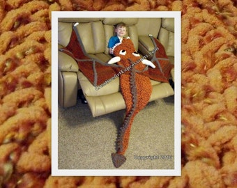 Child Dragon Blanket  Orange Wild Fire Crocheted Ready to Ship