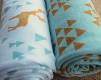 Swaddle Blanket Set - Deer and Triangle - Stretchy Jersey Knit Swaddle for Baby Boy - Mint and Mustard