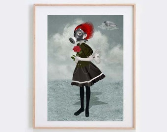 Gas Mask Girl Art Print - Gas Mask Girl & Rose - Steampunk Art Print - Steampunk Girl - Gas Mask Art - Inhale