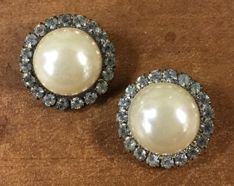 Luxe Faux Pearl and Rhinestone Earrings Clip On Chic and Sophisticated