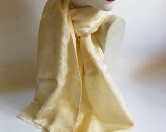 Vintage Silk / Wool Jacquard Scarf Oblong Muffler Cream Floral Unisex