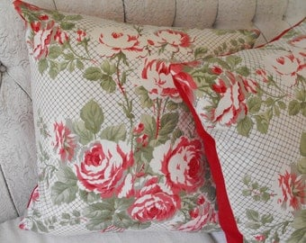 Laura Ashley fabric pillow covers, Vintage pillows,Romantic decor, shabby chic pillows,