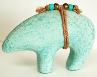 Vintage Turquiose Bear Fetish Pottery, Acoma Style Bear Home Decor, Bear Figurine, Southwestern Knick Knack