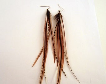 feather earrings super long  brown badger