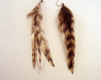 Real Feather Earrings Chinchilla Short Natural