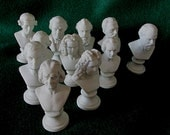 10 Antique, Vintage Miniature Bisque Busts, Music Composers Figurines