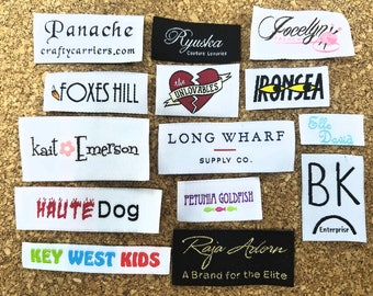 50pcs Custom Woven Labels (Artwork) for Couture, Diaper-Covers, L, Scarves, Coats, Hoodies, Jackets, Suits, Vests, Suits, Made in Hong Kong