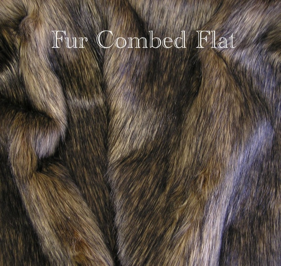 FUR SAMPLE: Wolf Faux Fur Gold Brown Black Faux By