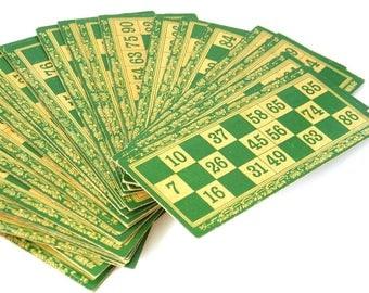 VINTAGE Bingo Cards, Vintage Lottery Cards, Scrapbooking Ephemera for Project Life Smash Books Junk Journals, Vintage Bingo Lotto Ephemera