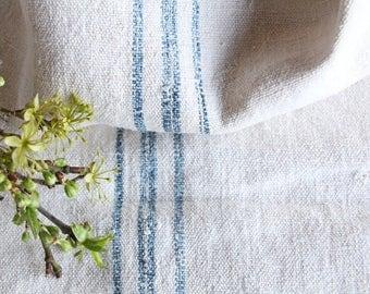 E 10: antique handloomed FADED HEAVEN BLUE;  grainsack pillow cushion runner 49.61 long wedding, french lin,wedding, spring, vintage