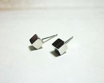 Silver Cube Stud Earrings 4mm, Cube Earrings