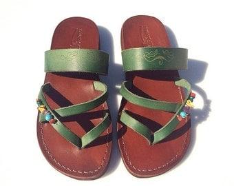 Brown Green Decor Moon Leather Sandals For Men & Women - Handmade Unisex Sandals, Flip Flop Sandals, Jesus Sandals, Genuine Leather Sandals