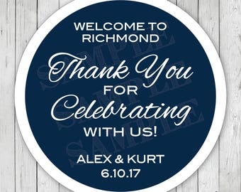 Personalized Thank You For Celebrating With Us Wedding Stickers, Wedding City Labels, Wedding City Tags, Wedding Thank You Tags