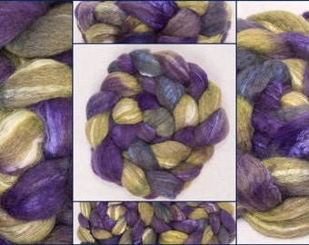 Hand painted fibre, Oatmeal BFL Tussah silk, Extra fine fibre, Hand dyed roving, spinning wool, Felting supplies, Colour;Wished for 11