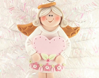 Baby Shower Favor - Personalized Angel Christmas Ornament - Baby's First Christmas - Polymer Clay Angel Ornament - Angel Ornament - 11111