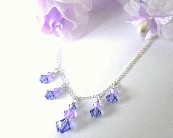 Purple crystal necklace, Swarovski tanzanite and lavender, sterling silver