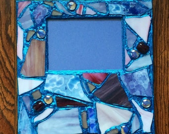Blue Glitter Recycled Stained Glass Mosaic Picture Frame (holds a 5 x 7 photograph)