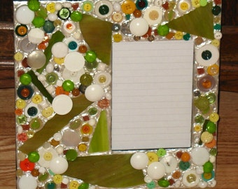 Recycled Buttons & Stained Glass Mosaic Picture Frame (holds a 5 x 7 photograph)