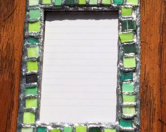 Green Silver Glitter Picture Frame (holds a 4 x 6 photograph)