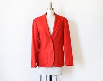 red blazer, vintage Pendleton blazer, red wool jacket, medium blazer