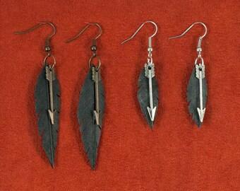 Vegan Feather & Small Arrow Earring