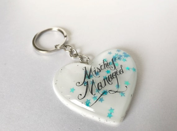 Mischief Managed Keychain - Book Lover Gift - Harry Potter Keychain - Potter Christmas Gift - Geeky Key Ring - Nerdy Christmas Gift